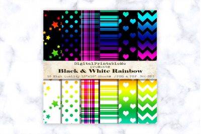 "Rainbow Digital Paper 12"" x 12"" Patterns black white scrapbook printab"