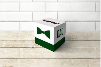 Mustache Dad Cube Box With Lid   SVG   PNG   DXF   EPS