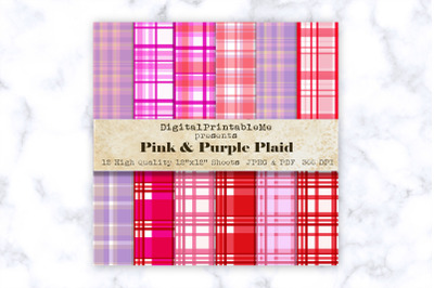 Red, Pink, Purple Plaid Digital Paper, White, Fuchsia, Scrapbook Pack,