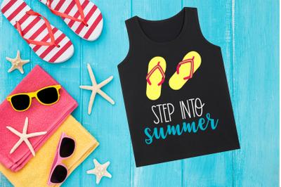 Step Into Summer Flip Flops | SVG | PNG | DXF | EPS