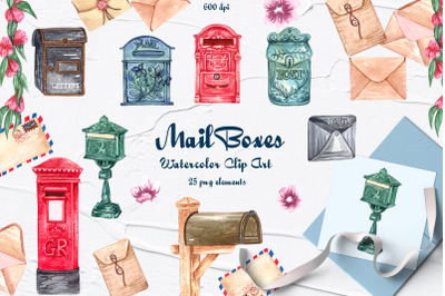 Mailbox Watercolor Clipart