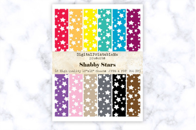 "Star Digital Paper 12"" x 12"" Shabby Patterns, rainbow, multicolor scra"