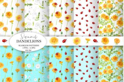 Dandelions Seamless patterns