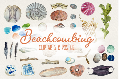 Beachcombing Clip Arts and Poster