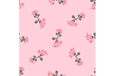 Drawing bloom pink flowers roses. Cute meadow floral seamless pattern.