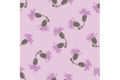 Drawing bloom purple flowers roses. Cute meadow floral seamless patter