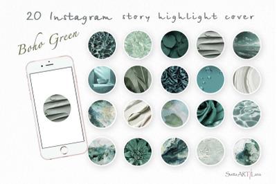 Instagram Boho Green Story Highlight Icons