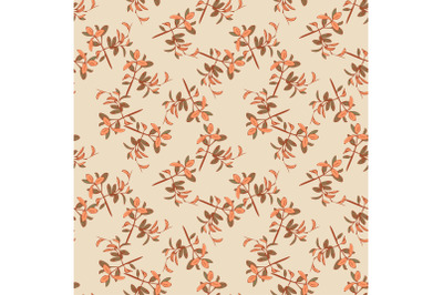Drawing curved plant branches with leaves in pastel beige colors. Tren