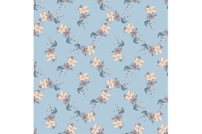Drawing meadow bloom flowers. Hand draw cute floral seamless pattern.