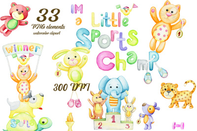 Watercolor clipart, animals sports champion, elephant, kangaroo, leopa