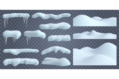 Realistic snow caps. Snowdrift with frozen icicles and snow borders, c