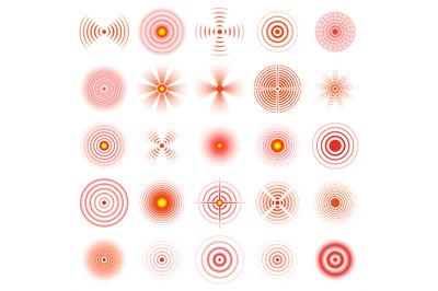 Pain circle. Red pain sonar circles, human pain localisation rings vec