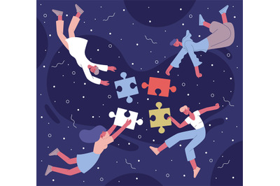 Teamwork puzzle collecting. Coworking team with abstract puzzle elemen