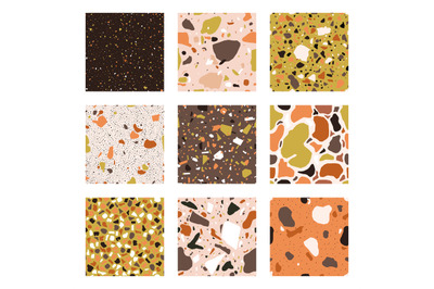 Marble chips seamless patterns. Granite, marble and quartz textured fl
