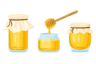 Cartoon honey jars. Glass pots and wooden spoon with dripping liquid h