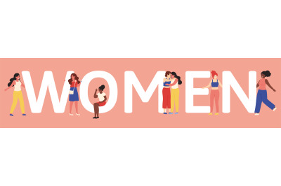 Women unity. Female friendship or sisterhood concept, young girlfriend