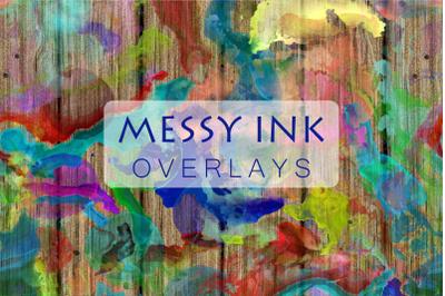Creative Messy Ink Blot Watercolor Overlays