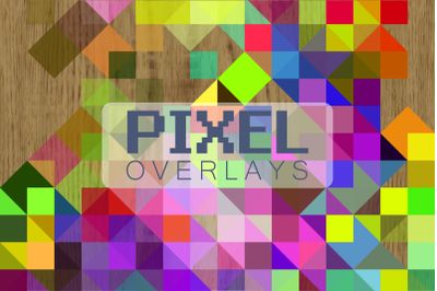 Retro Rainbow Pixel Polygon Overlays