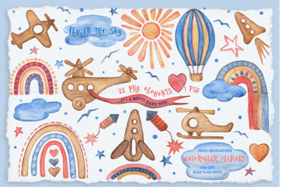 Fly in the sky Watercolor Clipart