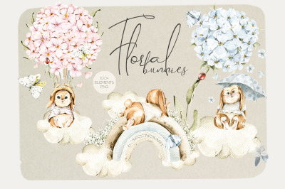 Floral cute bunnies. Watercolor baby clipart