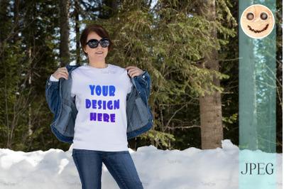 White sweatshirt mockup of a woman in denim jacket, model mockup