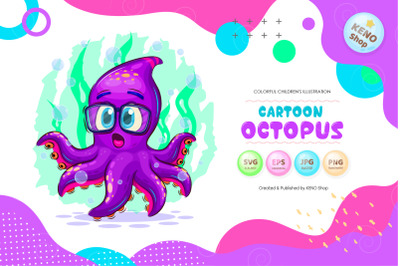 Cartoon surprised octopus clipart