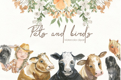Pets and birds. Watercolor clipart
