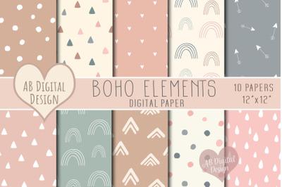 Boho Scandi Digital Paper, Blush Pink Rose Gold & Blue, Baby Shower