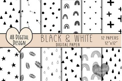 Black & White Digital Paper, Boho Scandi Doodles, Monochrome, Seamless
