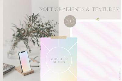 Soft gradient backgrounds, textures & shapes