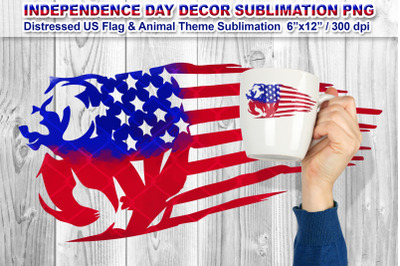 Distressed US Flag Sublimation with Animal Theme (Bear)