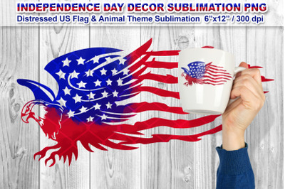 Distressed US Flag Sublimation with Animal Theme (Eagle)