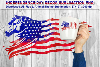 Distressed US Flag Sublimation with Animal Theme (Horse)