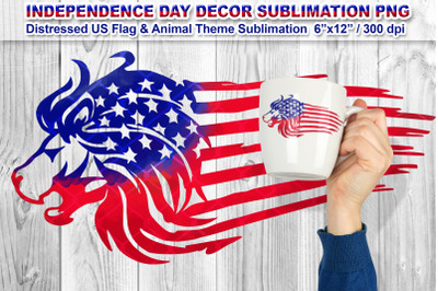Distressed US Flag Sublimation with Animal Theme (Lion)