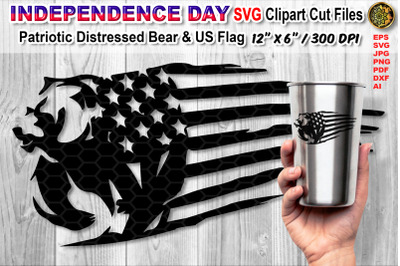 Distressed US Flag SVG Cutfiles with Animal Theme (Bear)