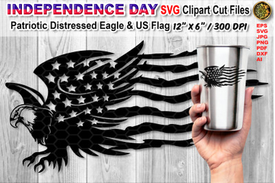 Distressed US Flag SVG Cutfiles with Animal Theme (Eagle)
