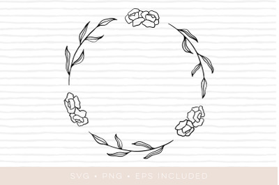 Floral Wreath SVG Cutfile. EPS and PNG also included
