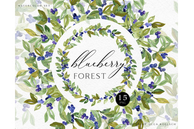 Watercolor  forest blueberry clipart, Woodland greenery png, Green png