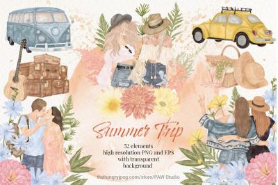 Summer Boho Travel Girl Couple Car Clipart Wild Flower Leaves