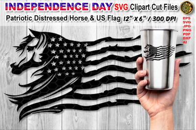 Distressed US Flag SVG Cutfiles with Animal Theme  (Horse)