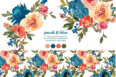 Watercolor Peach & Blue Floral Clipart Set