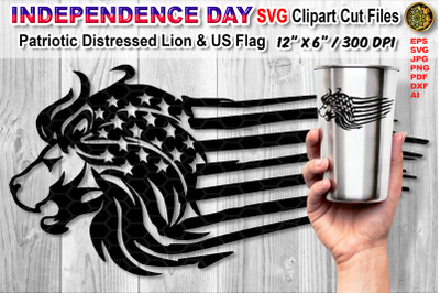 Distressed US Flag SVG Cutfiles with Animal Theme  (Lion)