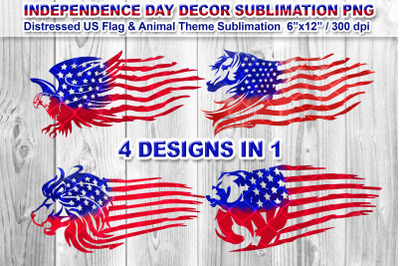 4 Distressed US Flag Sublimation PNG Animal Theme