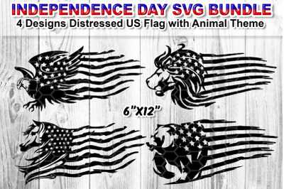 Set of 4 Distressed US Flag SVG Silhouette Clip Art Cut Files