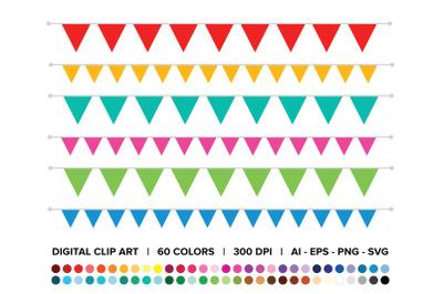 Single Color Triangle Banner Clip Art