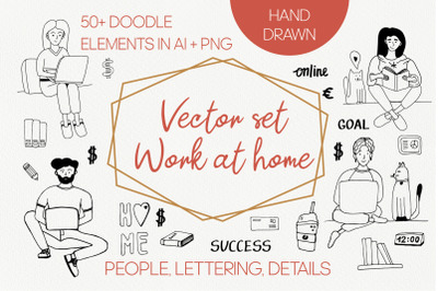 """Vector doodle clipart """"Work at home"""""""