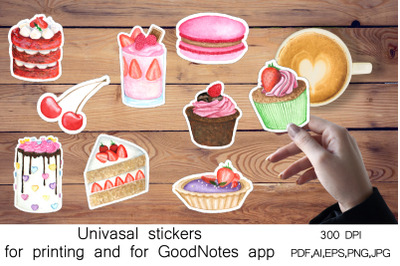 Stickers Print And Cut and for the GoodNotes. Sweet bakery
