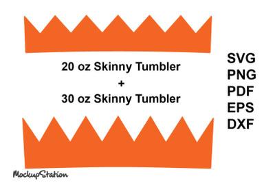 Pencil Tumbler Zig Zag SVG Template 20 oz / 30 oz Skinny Design