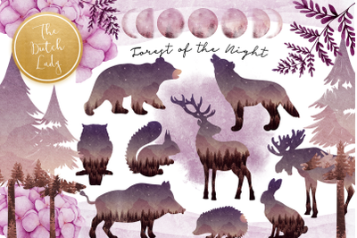 Forest at Nighttime Clipart Set