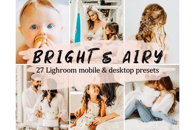 27 Bright Airy Lightroom Presets, Mobile & Desktop Lightroom Presets